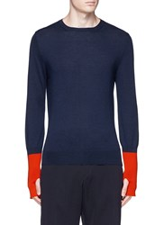 Alexander Mcqueen Thumbhole Cashmere Sweater Blue