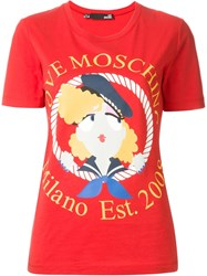 Love Moschino Sailor Girl Print T Shirt Red