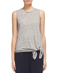 Whistles Linen Tie Top Gray