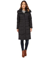 Cole Haan Single Breast Down Coat With Asymetrical Snap Placket Black Women's Coat
