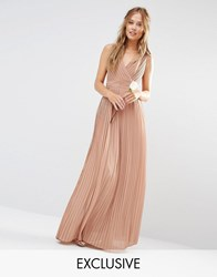 Tfnc Wedding Pleated Wrap Maxi Dress Taupe Brown