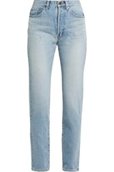 Saint Laurent High Rise Straight Leg Jeans Mid Denim