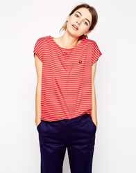 Fred Perry Striped T Shirt Hibiscuspink