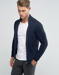 Jack And Jones Ribbed Funnel Neck Zipped Cardigan Navy