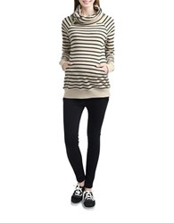 Kimi Kai Maternity Turtleneck Side Zip Striped Sweatshirt Black