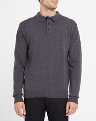 Armor Lux Grey Polo Neck Lambswool Sweater With Grey Contrast
