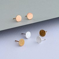Posh Totty Designs Hammered 18Ct Yellow Gold Plated Disc Earrings