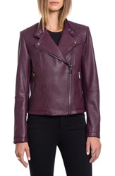 Bagatelle Women's Quilted Lambskin Leather Moto Jacket Chianti