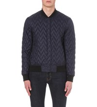 Armani Jeans Quilted Crepe Bomber Jacket Blue