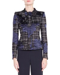 Giorgio Armani Satin Trimmed Tweed Jacket Navy Navy Tweed Jqd