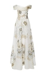 Marchesa Off The Shoulder Soft Draped A Line Gown Ivory