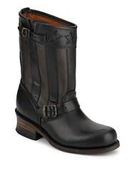 Frye Engineer Buckle Trim Leather Boots Black