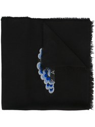 Kenzo Embroidered Detail Scarf Black