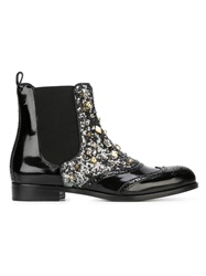 Dolce And Gabbana Brogue Sequin Chelsea Boots Black