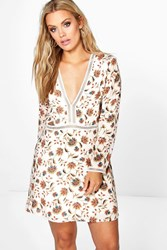 Boohoo Annie Floral Plunge Skater Dress Multi