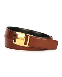 Salvatore Ferragamo Gold Vara Reversible Buckle Belt Brown Black