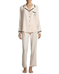 Carolina Herrera Long Sleeve Pajama Set Champagne Black