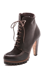 Vic Italy Lace Up Lug Sole Booties Black