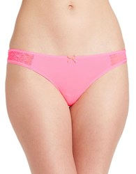 Betsey Johnson Lace Accented Thong Pink