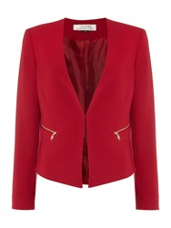 Tahari By Arthur S. Levine Asl Tailored Jacket With Zip Pockets Red
