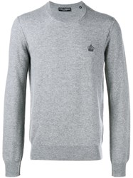 Dolce And Gabbana Embroidered Crown Jumper Grey