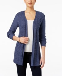 Karen Scott Lightweight Cable Knit Duster Cardigan Only At Macy's Heather Indigo