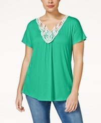 Ing Trendy Plus Size Crochet Trim Top Sea Cool
