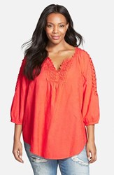 Plus Size Women's Xcvi 'Capitola' Embroidered Cotton Voile Tunic Tangelo