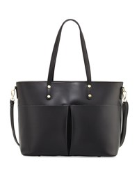 Neiman Marcus Leather Large Pocket Tote Bag Black
