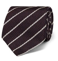 Tom Ford 9Cm Striped Woven Silk Tie Burgundy