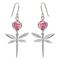 Martick Murano Glass Dragonfly Drop Earrings Silver Raspberry