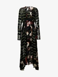 Preen Floral Silk And Velvet Audrey Dress Multi Coloured Green Pink