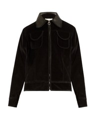 Wales Bonner Slee Leather Trim Cotton Velvet Bomber Jacket Black