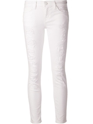 Current Elliott Distressed Skinny Jeans White