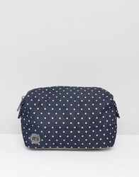 Mi Pac Premium Make Up Bag In Denim Spot Indigo White Blue