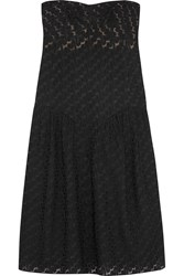 Missoni Strapless Ruched Crochet Knit Dress Black