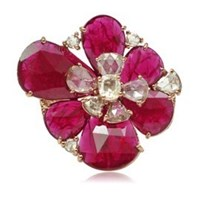 Sutra Ruby Flower Ring Rose Gold