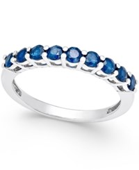 Macy's Sapphire Thin Band 5 8 Ct. T.W. In Sterling Silver Dark Blue
