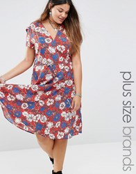 Alice And You Bold Floral Print Skater Tea Dress Red