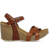Office Mystery Leather Cork Look Wedges Tan Leather