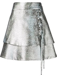 Antonio Berardi Lace Up Layered Skirt Metallic