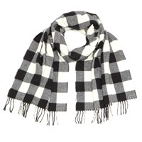 Woolrich Women's Classic Double Wool Scarf White Black Buffalo
