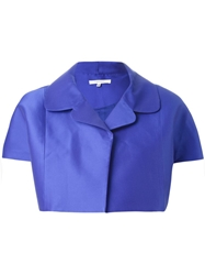 Carven Cropped Short Sleeve Jacket Blue