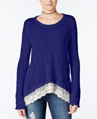Hippie Rose Juniors' Lace Trim Asymmetrical Hem Sweater Tapestry Blue