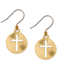 Lucky Brand Gold Tone Hammered Disc Cross Drop Earrings