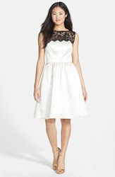 Women's After Six Sleeveless Lace And Satin Cocktail Dress Ivory