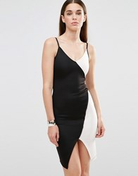 Twin Sister Bodycon Cami Dress With Contrast Mono Panels Black White