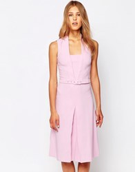 Closet V Front Dress With Belt And Front Pleat Pink