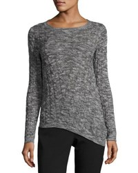 Tahari By Arthur S. Levine Asymmetric Cable Knit Sweater Black White
