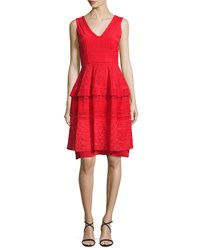 Talbot Runhof Moldova Sleeveless Lace Cocktail Dress Red
